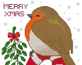 Merry Christmas Robin Cross Stitch Pattern-Animal, Christmas, Holiday