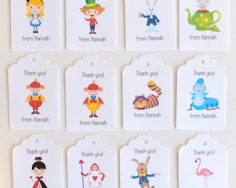 Alice in Wonderland Tags with Baker's Twine, Personalized Alice in Wonderland theme party favor tags, Kids party favors, set 12 white tags