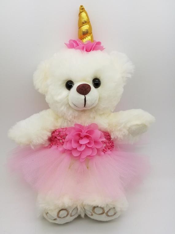 ecf84d1cfa0d Unicorn Tutu Teddy Bear in Custom Colors personalized gift | Etsy
