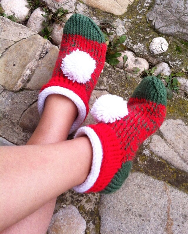 f012f30c24c7b Knit Slippers Christmas Shoes Knit Elf Slippers Knit | Etsy