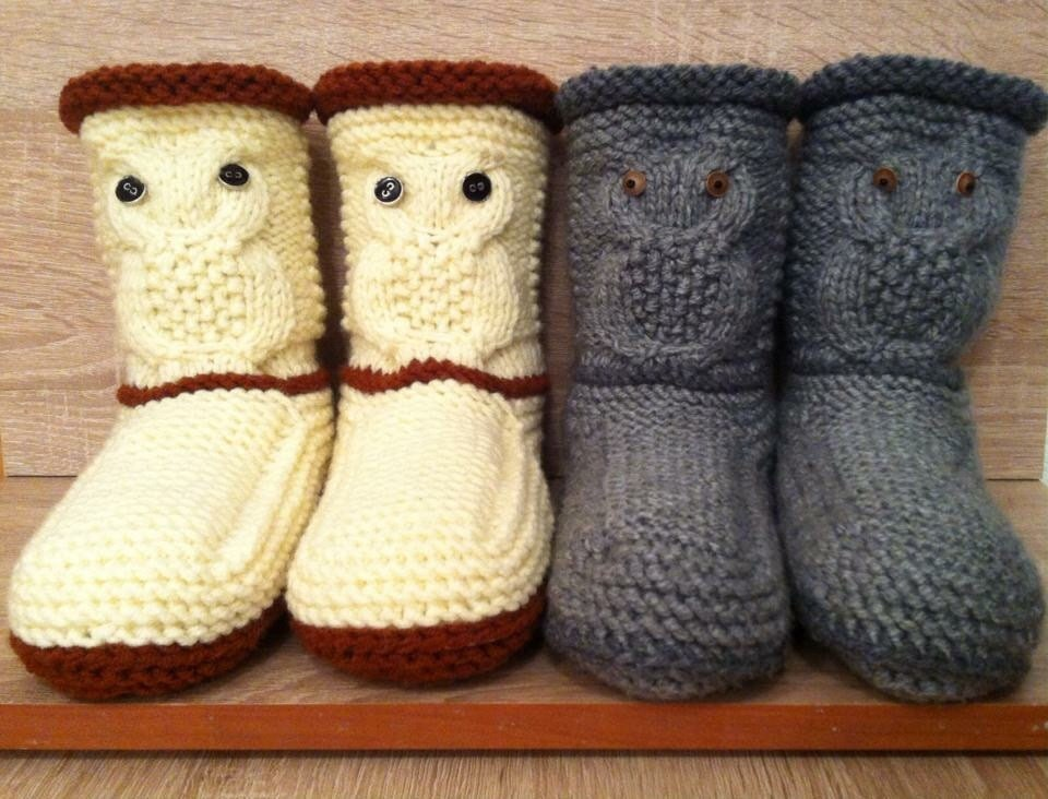 Owl Slippers Knitted Slipper Booties Gray Knit Slippers Knit Etsy