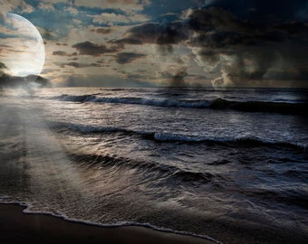 Art,Photography,Moon Scape Photo, A Globe in the Night Sky, Guiding through the Night, Aim for the Moon, you might hit a Star Art by Evie