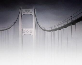 Michigan Photography, Michigan Photo, Michigan, Mackinac Bridge,Fog,Purple,Mackinaw,Straights of Mackinac, Bridge Art, Purple white lavender
