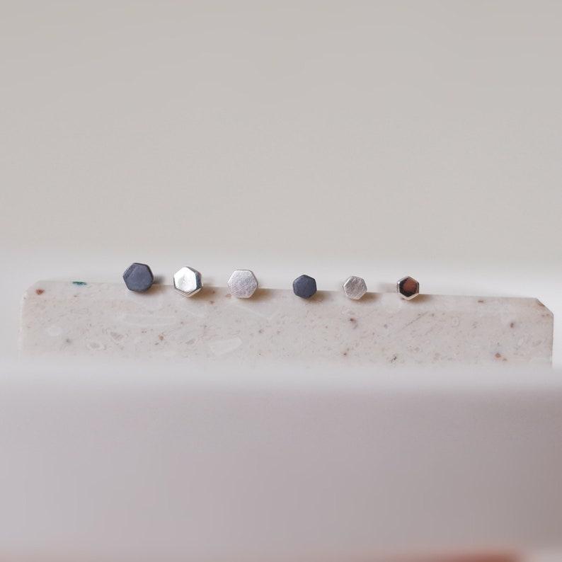 2e63a3d99 2mm 3mm Minimalist Tiny Hex Dot Sterling Silver Stud Earrings | Etsy