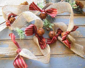 burlap garland christmas rusty bells rustic christmas christmas tree garland ticking 9 feet rag garland holiday decor