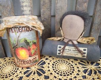 Primitive Doll - Amish - Shelf Sitter - Cupboard Tuck - Amish Doll - Apple Sauce - Tin Can - Primitve Decor - Rustic Decor - Amish Made