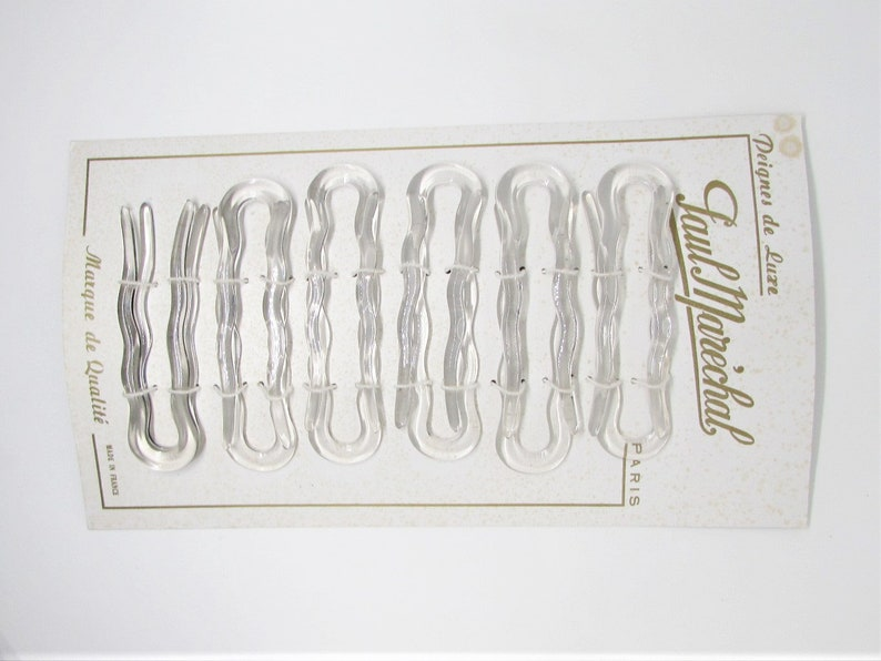 Vintage FRENCH Designer Paul Marechal U Hair Pin Set 1970s Hair Accessory Made in France Clear Plastic Hair Forks Chignon Bun Twist Updo