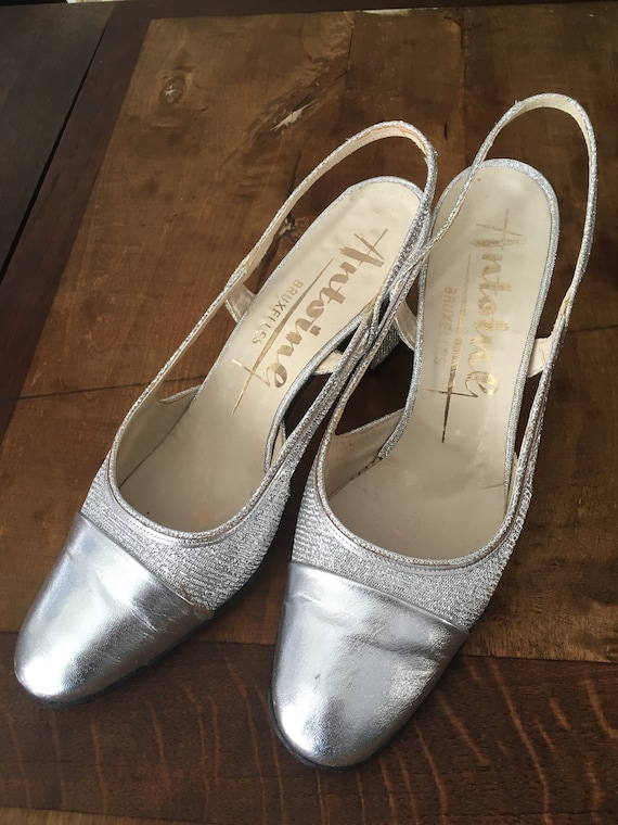 Sixties silver vintage leather shoes