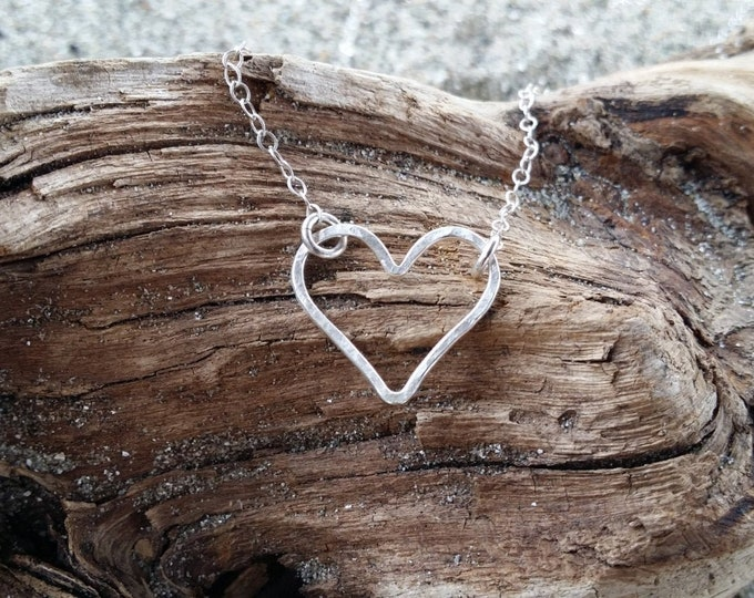 Heart Necklace, Tiny Heart Pendant, Sterling Silver, Silver Heart