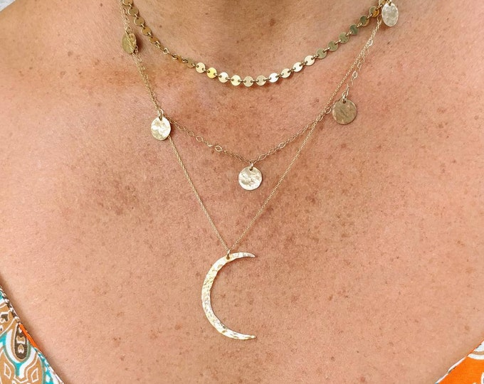 Hammered Gold Moon Necklace, Crescent Moon, Gold Necklace, Gold Moon, Hammered, Dainty Necklace