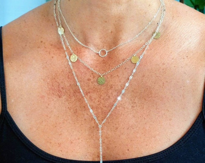 Hammered Sequin Necklace, Mixed Metal, Coin Necklace, Hammered Disk, Tiny Sequin, Small Circle, Charm Necklace, Gold, Silver, Boho, Layering