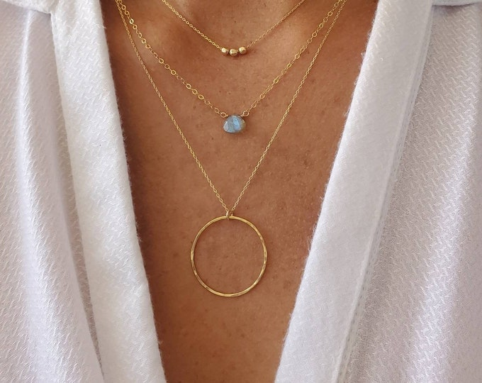 Gold Circle Necklace, Hammered Necklace, Layering Necklace, Gold Necklace, Simple, Dainty, Delicate Necklace, Circle Pendant