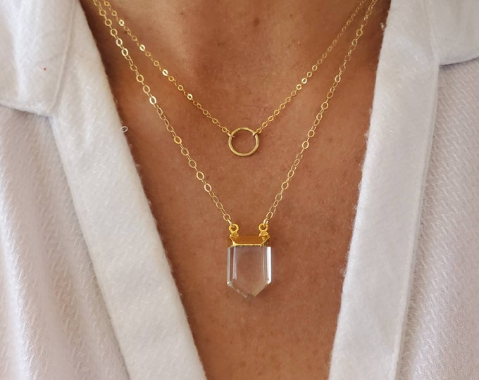 Pointed Faceted Quartz Necklace, 24K Gold Edge, Quartz Necklace, Gold Fill Chain, Crystal Necklace, Layering Necklace, Quartz, Crystal