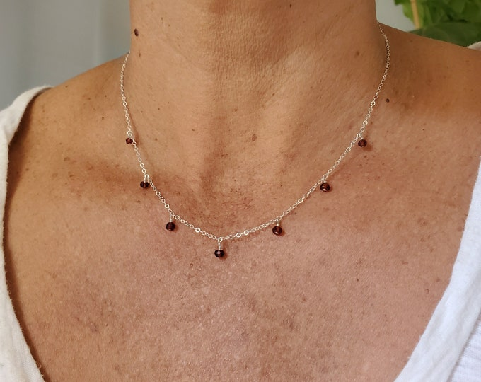 Tiny Gemstone Necklace, Simple, Elegant, Tiny Gemstones, Dainty Necklace, Minimalist, Delicate, Gemstone, Tiny, Dainty