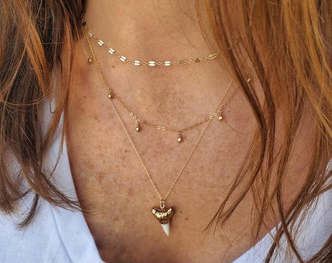 Boho Layered Necklace Set, Shark Tooth, Set of 3, Gold Necklace Set, Three Necklaces, Layering Necklaces, Necklace Set, Layered Set, Dainty
