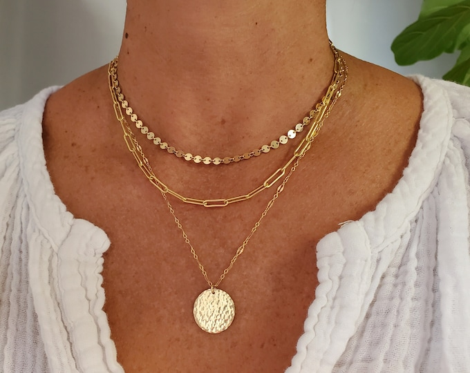 Layered Necklace Set, Set of 3, 14k Gold Filled, Sterling Silver, Minimalist, Paperclip, Coin, Sequin, Chain, Necklace, Gold, Silver, Set
