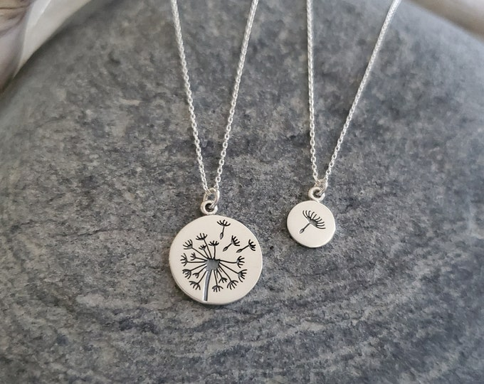 Sterling Dandelion Necklace Set, Mother Necklace, Daughter Necklace, Mother, Child, Mothers Day, Gift, Necklace Set, Silver FLower Necklace