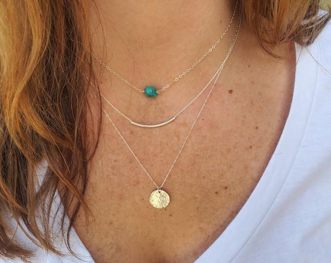 Layered Necklace Set, Turquoise, Set of 3, Gold, Silver, Three Necklaces, Layering Necklaces, Necklace Set, Layered Set, Dainty, Minimalist
