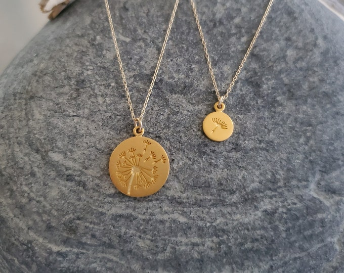 Gold Dandelion Necklace Set, Mother Necklace, Daughter Necklace, Mother, Child, Mothers Day, Gift, Necklace Set, Gold FLower Necklace, Set