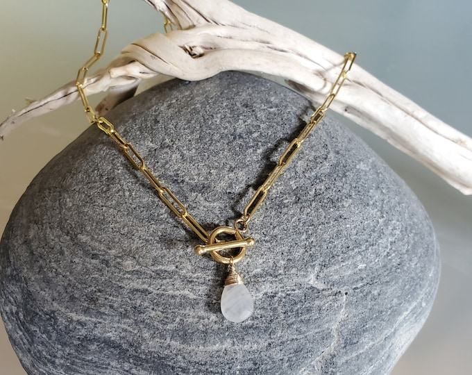 Large Gemstone Necklace, Moonstone, Labradorite, Simple Necklace, Gemstone Jewelry, Paperclip Necklace, Gold, Silver, Paper Clip Necklace
