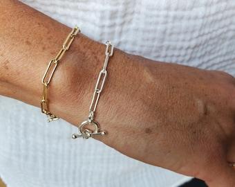 Large Link Chain Bracelet, Sterling Silver, 14k Gold Filled, Layering Bracelet, Gold, Chunky, Bracelet, Chain, Silver, Bracelet, Paper clip