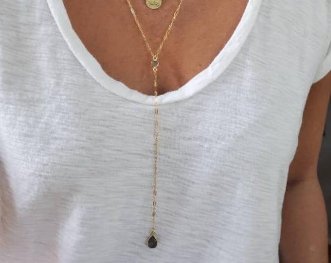 Long Labradorite Y Necklace, Gemstone, Long, Layering, Necklace, Gold, Silver, Labradorite, Lariat, Y Necklace