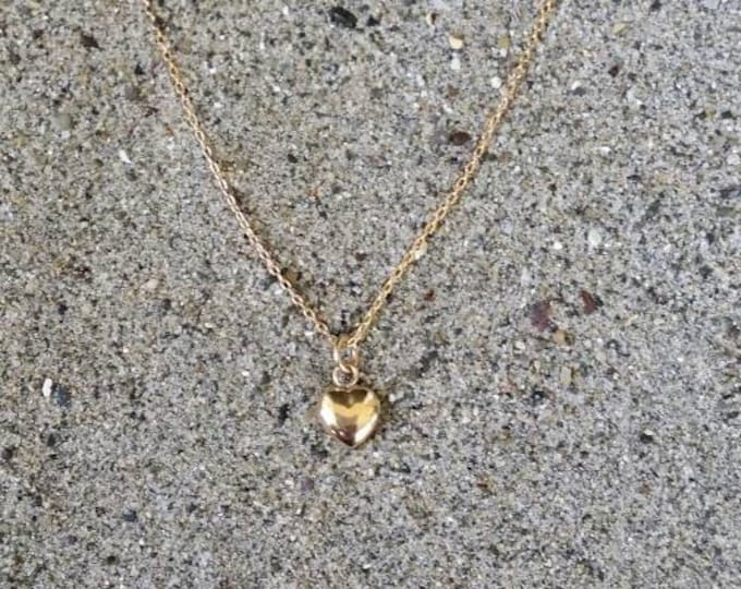Tiny Gold Puffed Heart Necklace, Heart Necklace, Tiny Heart, Gold Heart Necklace, Gold Fill