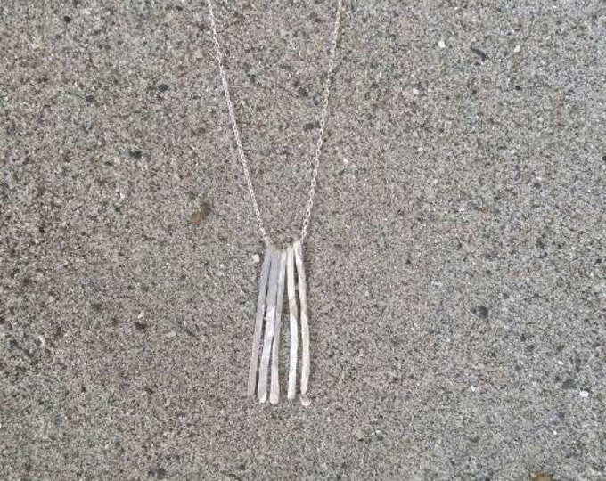 Sterling silver fringe necklace, simple necklace, silver neclace, small silver necklace, hammered necklace, small, layering, fringe