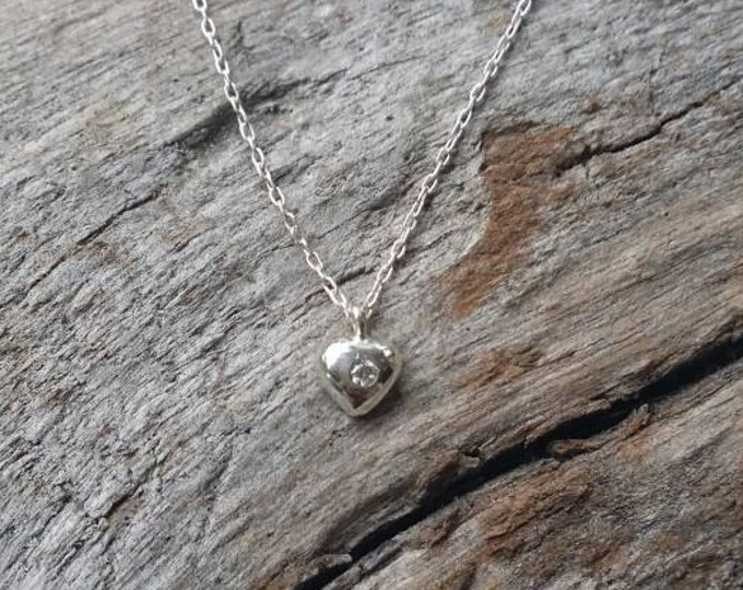Teenie Tiny Sterling Silver Heart Necklace, CZ, Heart Necklace, Silver Heart Necklace, Heart, Sterling Silver, crystal, Valentines day