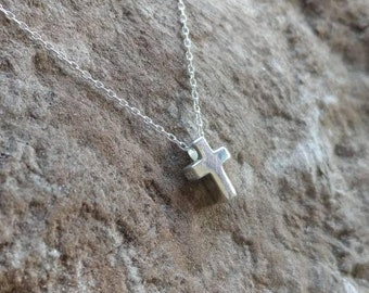 Tiny Sterling Cross Necklace, Sterling Silver, Cross Necklace, Silver Cross, Pendant, Cross Bead, Tiny Silver Cross Necklace