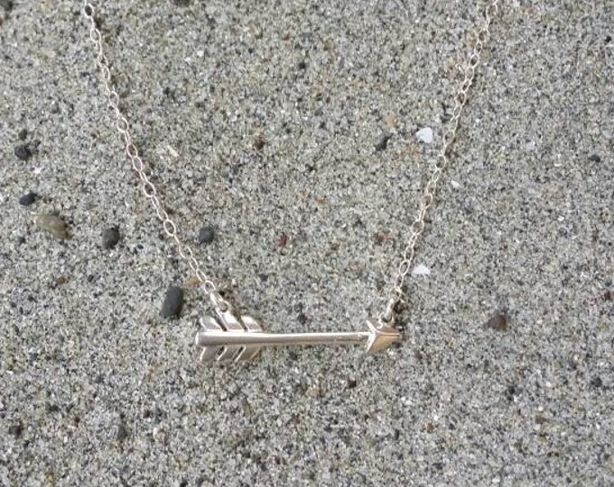 Tiny sterling silver arrow necklace, layering necklace, sterling silver, tiny silver necklace, tiny charm necklace, Tiny Arrow