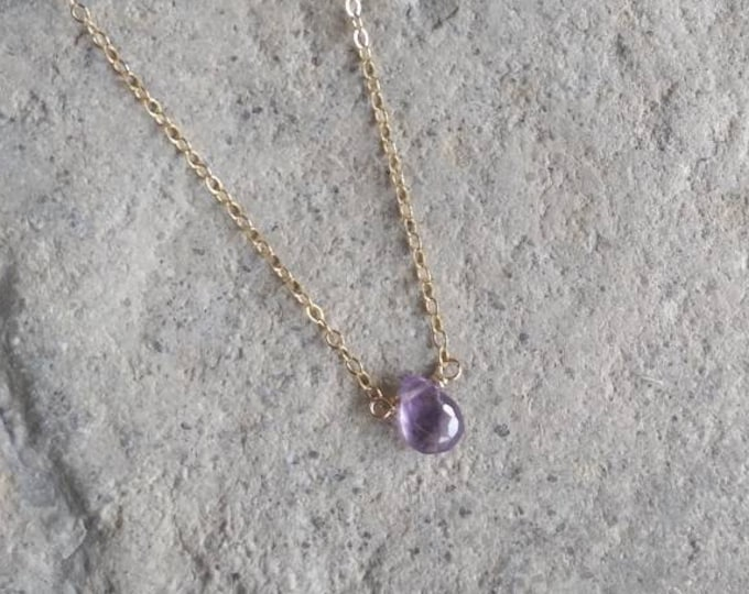 Gemstone Necklace, Amethyst,  Layering Necklace, Simple Necklace, Gemstone Jewelry, Tiny Necklace, Gold or Silver