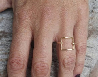 Dainty Ring, Gold Ring, Square, Hammered, Simple, Tiny Ring, Gold Fill