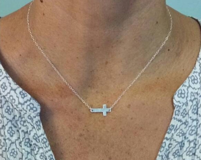 Small Sterling Hammered Cross Necklace, Sterling Silver, Hammered Cross, Silver Cross, Sideways Cross