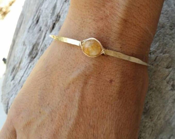 Gemstone Bracelet, Stacking Bangle, Sterling Silver, or, 16K Gold Fill, Hammered bangle, Gold Bangle, Silver Bangle, tiny bracelet, Citrine