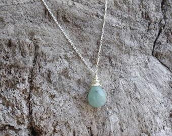 Tiny Gemstone Necklace,Amazonite,  Layering Necklace, Simple Necklace, Gemstone Jewelry