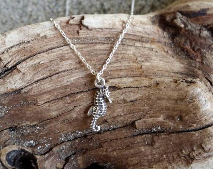 Tiny Sterling Silver Seahorse Necklace, Silver Necklace, Tiny, Seahorse, Sterling Silver, Dainty, Delicate