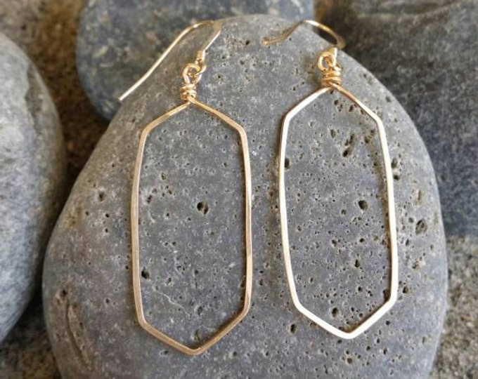 Gold Earrings, Hammered Earrings, Geometric, Simple, Dangle Earrings