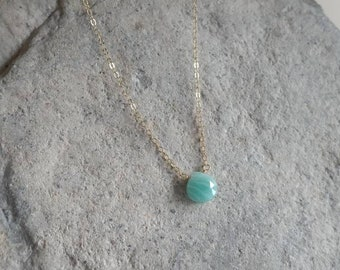 Tiny Gemstone Necklace, Amazonite, Layering Necklace, Simple Necklace, Gemstone Jewelry, Dainty Necklace, Gold, Silver, Every Day Necklace