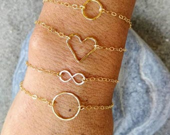 Gold Bracelet, Layering Bracelet, Tiny Bracelet, Hammered,Gold, Heart, Circle, Infinity, Hammered Bracelet, Tiny Gold Bracelet, Dainty