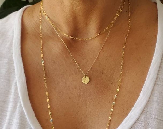 Tiny Gold Disk Necklace, Hammered, Circle, layering necklace, gold fill, tiny necklace, gold necklace, hammered Circle, Dainty, Delicate