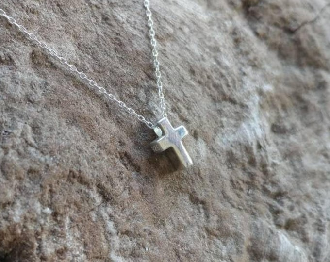 Tiny Sterling Cross Necklace, Sterling Silver, Cross Necklace, Silver Cross, Cross Pendant, Cross Bead, Silver Cross Necklace, Dainty, Tiny