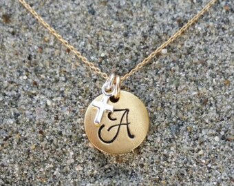 Monogram Necklace, Cross Initial Necklace, Matte gold with silver