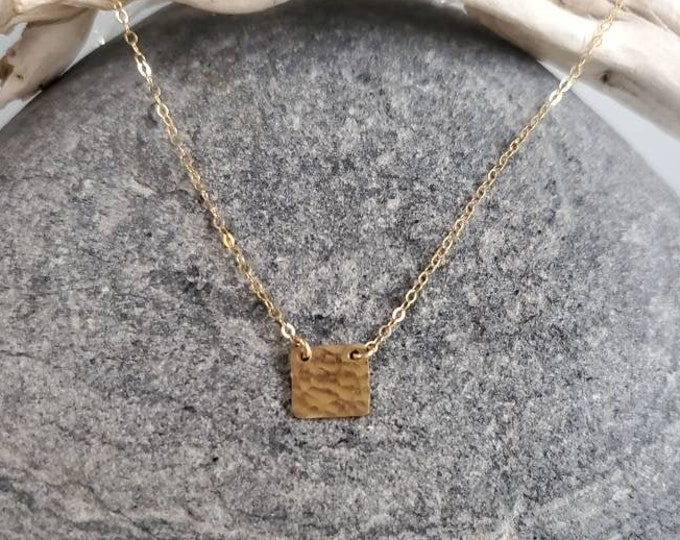 Tiny Gold Square Necklace, layering necklace, gold fill, tiny necklace, Hammered, Gold Necklace, Dainty, Delicate, Minimalist Necklace