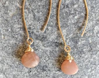 Drop Earring, Faceted Teardrop Peach Moonstone Gold Fill, Sterling Silver, Earrings, Moonstone Earrings, Earrings, Dangle, Dainty, Moonstone