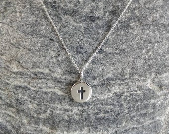 Tiny Sterling Cross Necklace, Sterling Silver, Cross Necklace, Silver Cross, Cross Pendant, Cross, Silver Cross Necklace, Dainty, Delicate