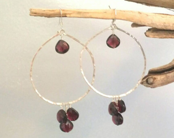 Gemstone Hoop Earrings, Gemstone Briolette, 14k Gold Fill, or Sterling Silver, Gold Hoops Earrings, Chain Earrings, Chandelier Earrings