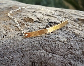 Mixed Metal, Gold and Silver Bracelet, Tiny Bracelet, Hammered, Hammered Bracelet, Tiny, Gold Bracelet, Silver Bracelet