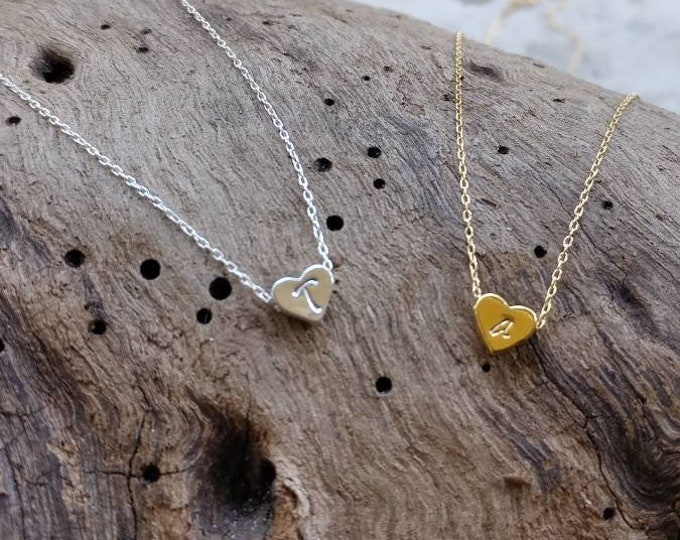 Tiny Sterling Silver Heart Necklace, Initial Necklace, Monogram, Heart Initial Necklace, Teenie, Tiny, silver necklace, heart bead, gold