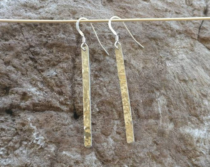 Long Hammered Bar Earrings, Silver Bar Earrings, Simple Earrings, Dangle Earrings, Sterling Silver, Long Earrings 1.5""